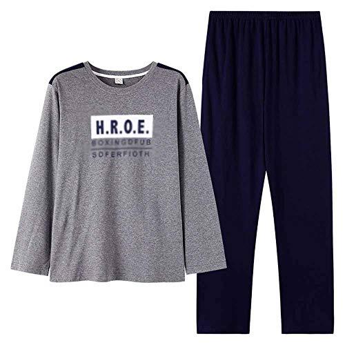 LERDBT Herren Pyjama Sets Long Sleeve Cotton Rundhals Pullover mit Stehkragen Set Funsport Wearable Homewear Männerschlafanzug Für Männer (Color : Photo Color, Size : L)