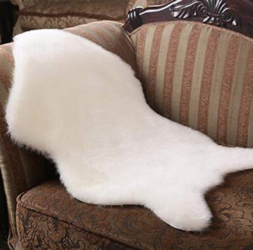 Coogel Australian Imitation Leather Sofa Wool Carpet Mat Area Rugs Clearance Rugs for Bedroom (White)
