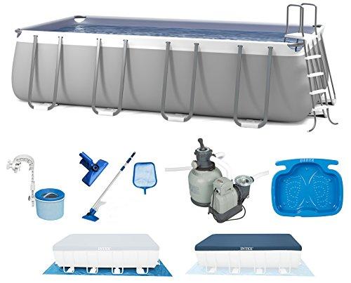 INTEX 549x274x132 cm Ultra Frame Swimming Pool 28352 Komplett-Set mit Extra-Zubehör wie: Reinigungsset, Skimmer und Fußbad