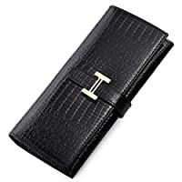 Europe and the United States H buckle Crocodile pattern leather lady Wallet Hand Bag Black QB05