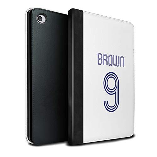 Personalisiert Individuell Fußball Vereine Trikots Kit PU-Leder Hülle für Apple iPad Mini 4 / Weiß Blau Design/Initiale/Name/Text Tablet Schutzhülle/Tasche/Etui