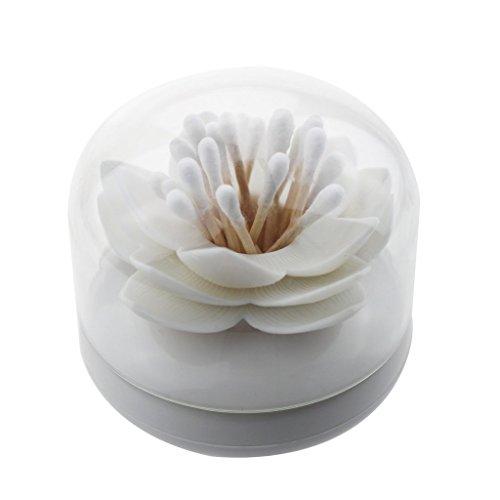 iLory White Lotus Shape Cotton Swab Holder Cotton Bud Toothpicks Storage Organizer Case Box for Bathroom