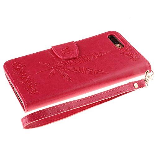 IPhone 7 Plus Housse Case, Double Side Embossing Fleurs Haute Qualité Flip Stand PU Leather Case avec Lanyard Wallet & Card Cash Slots pour Apple IPhone 7 Plus ( Color : Rose , Size : IPhone 7 Plus ) Rose