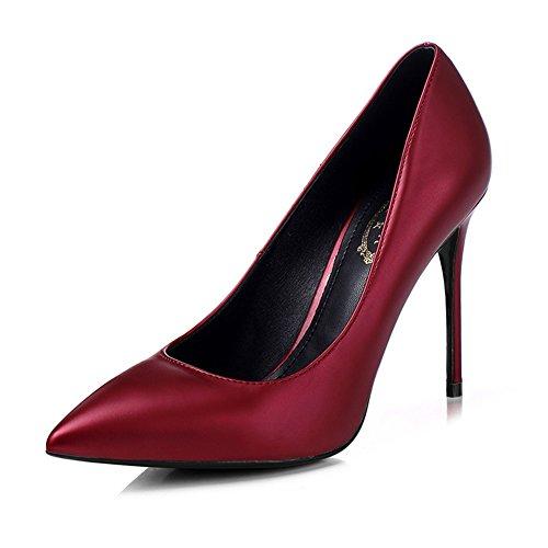 YIXINY Escarpin M-001 Chaussures Femme PU+Caoutchouc Pointu La Bouche Peu Profonde Talon Mince Mariage Occupation Chargé 8.5/10cm Talons Hauts Bourgogne Vin Rouge
