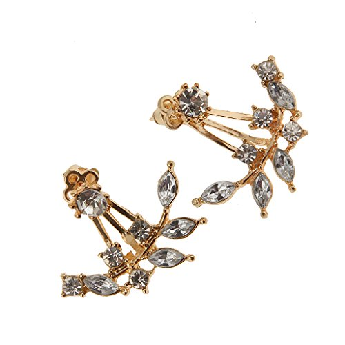 Phenovo Fashion Branch Leaf Shape Earrings Crystal Back Cuff Ear Stud Jewelry Gold  available at amazon for Rs.220