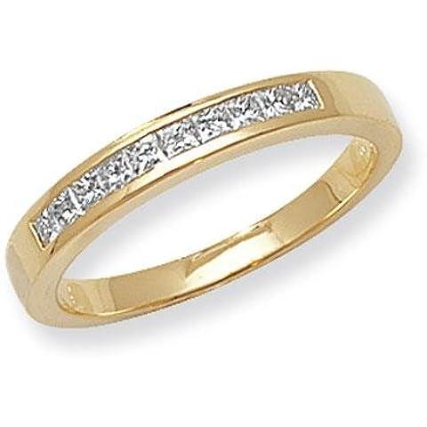 Con diamante taglio Princess 9pietra Canale Anello 18ct G/H SI20,33ct
