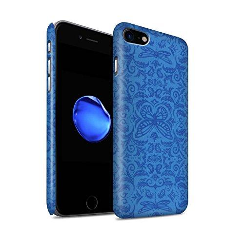 STUFF4 Matte Snap-On Hülle / Case für Apple iPhone 8 / Schwarz / Weiß Muster / Insekten Muster Kollektion Blau