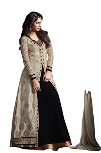 Active Women's Net & Georgette Embroidery Indo Western Suit (Free Size_Black)