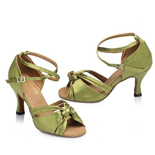 Minitoo Knoten Dance Shoes Damen, Satin Grün
