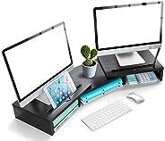 LORERGO Monitor stand Houten Met verstelbare lengte en hoek Extra functionele Slot Monitor Riser Desktop Organ