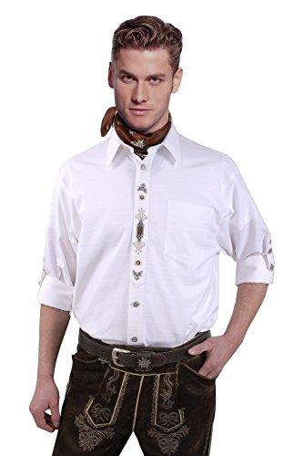 Top-Quality - Trachtenhemd Herren Weiß- mit dezenter Stickerei - Komfort Reine Baumwolle (40, Weiß)