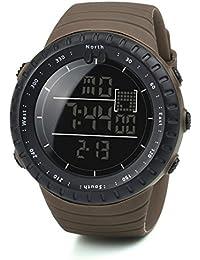 Reloj para hombres Moda Negro Deportes Banda elástica Digital Ejército Militar Cuarzo Reloj de pulsera LMMVP (Tamaño libre, Café)