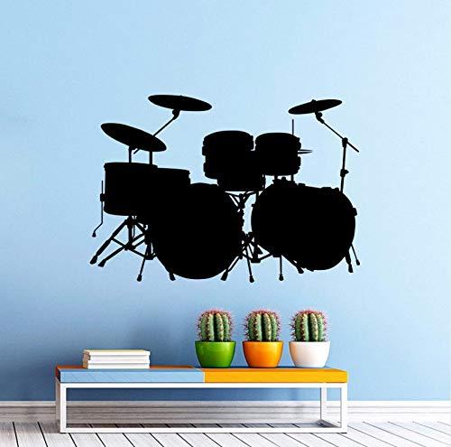 Lvabc Vinyl Wandaufkleber Musik Drum Kit Schlagzeug Wandtattoo Rock Band Art Design Home Schlafzimmer Dekor Musik Trommel Wandkunstwand 42X29 Cm