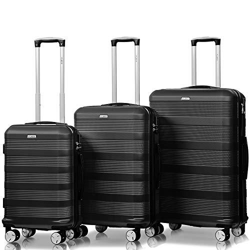Flieks Reisekoffer Kofferset Hartschale 4 Zwillingsrollen Trolleys Gepäck Koffer 3tlg. (Schwarz, Set)