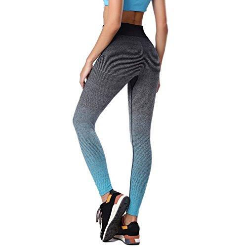 Legging Femme Sport Collants de Sport Pantalon de Sport Vêtement de sport pour Femme et Fille pour Sport Course Jogging Yoga Bleu