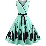 Xmiral Damen Kleid Polyester Katze Gedruckt V-Ausschnitt Sleeveless Rock Abendkleid Swing Retro Kleid (XL,Grün)