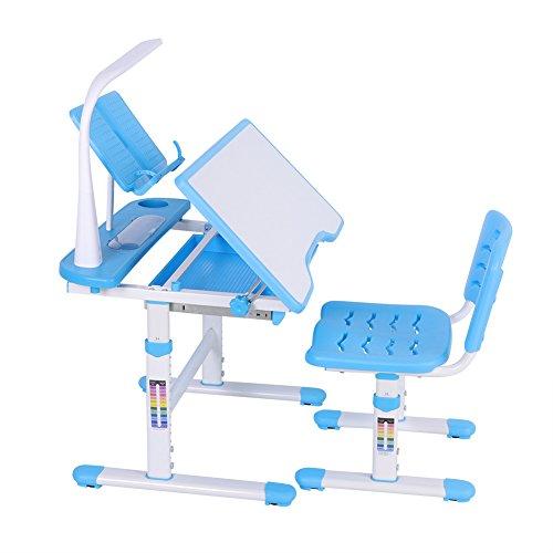 GOTOTOP Kinderschreibtisch mit Stuhl Schülerschreibtisch, Schreibtisch und Stuhl Kind höhenverstellbar ergonomisches Design mit Augenschutzlampe und Leseständer Möbelraum Kreativität Lernen Blau