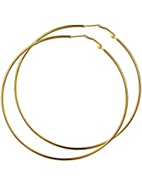 GoldChic Jewelry Anti-alergia Aro Pendientes para Mujer Chica 30/40/50/60/70/80/100 MM Pequeños Grandes Hoop Huggie Earrings Platino/Negro/Dorado Brillantes Pendientes altos pulidos