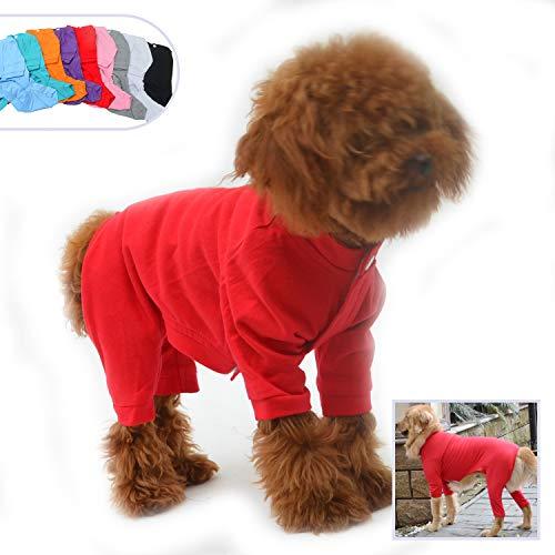 lovelonglong Hunde-Pyjama mit 4 Füßen, aus Reiner Baumwolle für Hunde, Einteiler, T-Shirt, stilvolles PJS Welpenkostüm für große, mittelgroße und kleine Hunde Pjs Overall