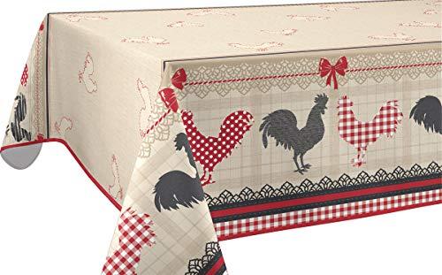 Le linge de Jules Nappe Anti-Taches Coq - Taille : Carrée 180x180 cm