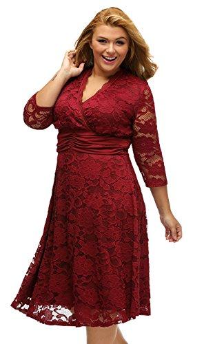 La Vogue Robe Grand Taille Femme Lace Manche 3/4 Col V Soirée Club Rouge