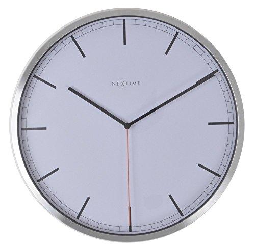 Nextime 3071WI Quartz wall clock Círculo Blanco - Reloj de pared (AA, 1,5 V, Blanco, Aluminio, Vidrio, 40 mm)