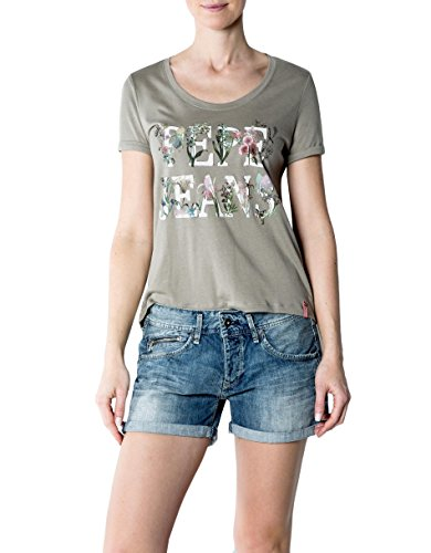 Pepe Jeans Damen T-Shirt Zoe Baumwollmix Shortsleeve Unifarben mit Motiv, Größe: L, Farbe: Grün (Verziert Denim Floral)