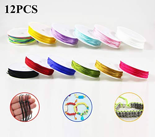 Dartue 12pcs Nylonfaden Nylonschnur Bunte Schnur Faden 0.8MM * 10M für DIY Armband Halskette Schmuck Handwerk Bastel