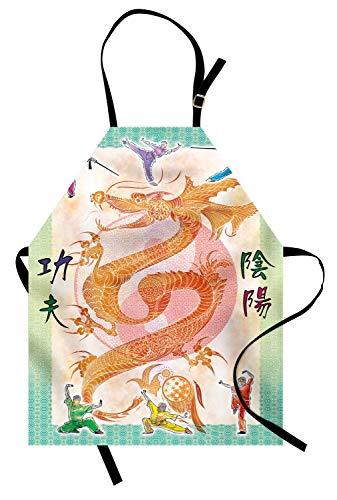 Drachen-Schürze, asiatischer chinesischer Drache mit Kampfkunst-Abbildungen japanisches Samurai Ying Yang Bild, Unisexküchen-Latzschürze mit justierbarem Hals für das Kochen Backen im Garten ()