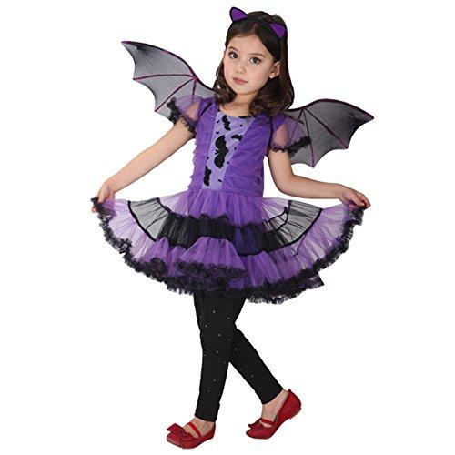 CHICTRY Mädchen Fledermaus Kinderkostüm komplettes Cosplay Kostüm für Halloween Fasching Karneval mit Fledermausflügel Violett (Kostüme Flügel Muster Fledermaus Für)