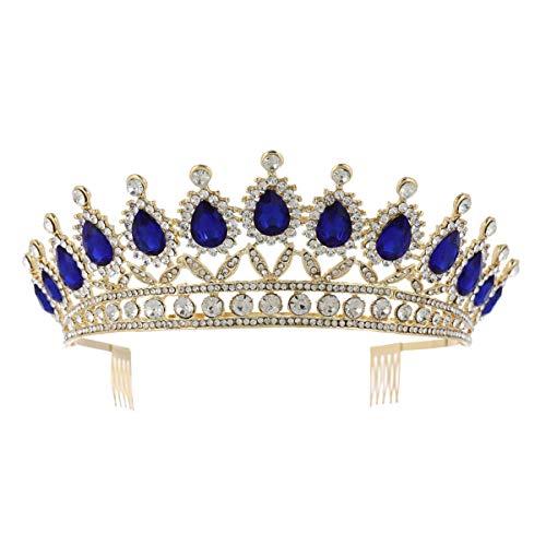 Lurrose Braut Strass Tiara Retro Blau Kristall Krone Gold Prinzessin Haarschmuck für Hochzeit (Tiara Blau Gold)