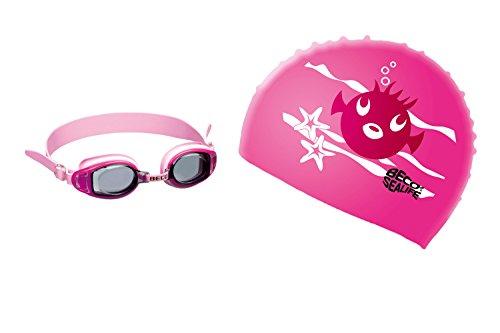 BECO Kinder Schwimmer Set - Schwimmbrille und Badekappe pink