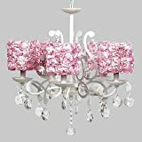Jubilee Collection 79002-2422 White 5 Light Elegance Chandelier with Pink Rose Garden Shades