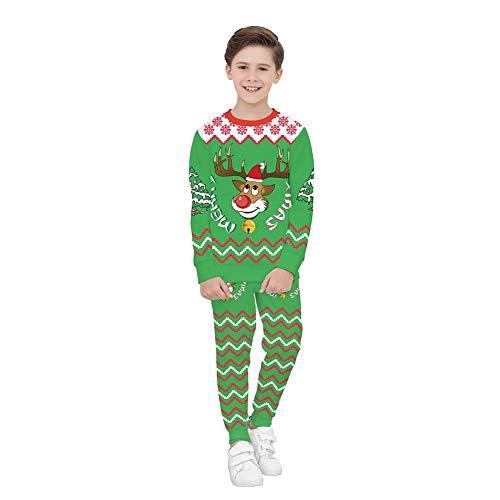 Weihnachtskostüm Für Kinder, 3D Christmas Elk Digitaldruck Langarm-Sweatshirt Für Kinder + Jogginghose Zweiteiler (Bestes Weihnachtsgeschenk),L (Kostüm Kinder Santa Monica)