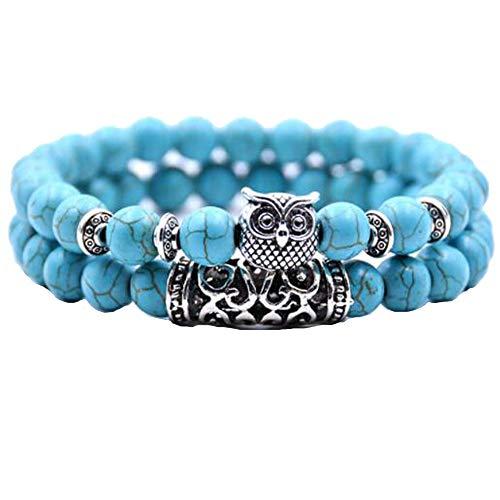 MeiPing Damen Herren Unisex Armband Armreif 8mm Energie-Stein Kugeln Perlen Stretch Energiearmband - Mit Türkis-perlen Armband