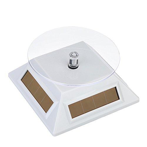 sunnymi Rotierender Schmuck Display Stand,Für Ring Ohrringe Armband,Solar 360 ° Drehscheibe rotierenden Schaufenster Schmuck Uhr Display Stand Halterung (Weiss, 100*100*40mm) -