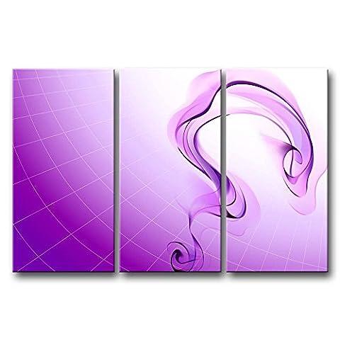 Impression sur toile Décoration murale Image pour Home Decor Violet fumée 3pièces peintures moderne giclée tendue et encadrée illustrations à l'huile d'images à la abstraite Impressions Photo sur toile