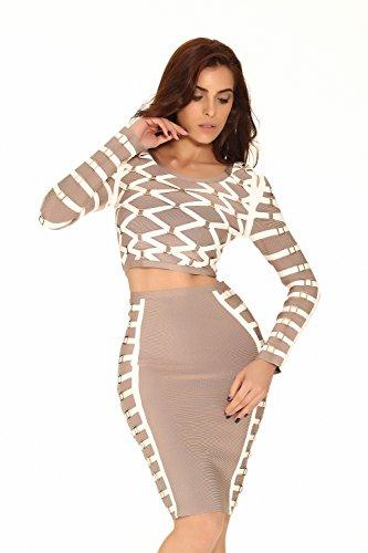 Whoinshop Damen Langarm Bodycon Kleid Zweiteilig Cocktailkleid Figurbetontes 2 teilig Bandage Partykleider nackt