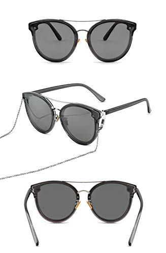 Women Shades Oversized Eyewear Polarized Sunglasses Ms. Big Box Round Face Black Super Sunglasses Thin Face Sunglasses with Chain Influx Street Shoot, C