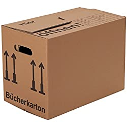 BB-Verpackungen Bücherkartons, 25 Stück, (Profi) STABIL + 2-WELLIG - Umzug Karton Kisten Verpackung Bücher Umzugskartons Schachtel