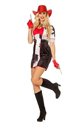 Karneval-Klamotten Cowboy Cowgirl Wilder Westen Kostüm Damen Frauen sexy Western-Kostüm Kleid schwarz-weiß-rot Größe 38