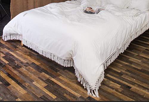 Meaning4 Weiß Elfenbein Bettbezug Deckenbezug Bettwäsche mit Fransen Borte Baumwolle Einzelbett - größe 135 x 200 cm