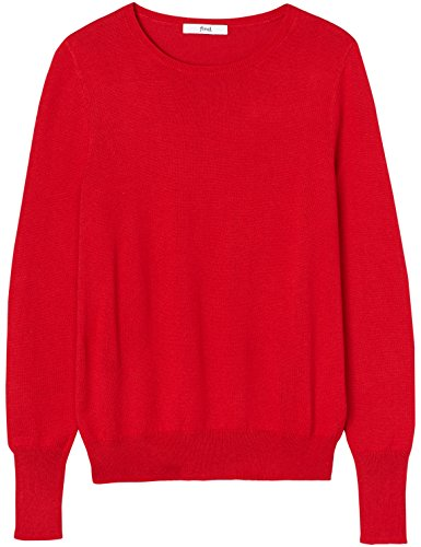FIND Damen Pullover Bonn Basic Crew Rot (Fiery Red)