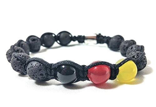 Jo.28 Designer Deutschland- Armband- Edles Armband aus Handarbeit mit Lavaperlen, Onyx, Jade und Achat. Armschmuck für Damen und Herren - Paracord Jade