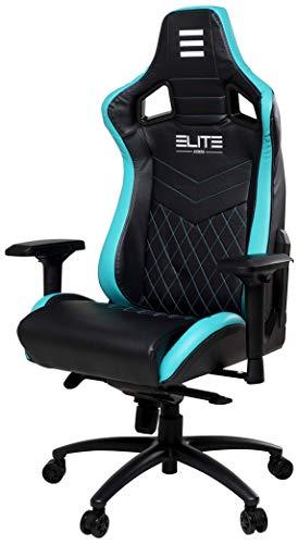 ELITE Premium Gaming Chair Honor - Bürostuhl - LED Beleuchtung - Kunstleder - Ergonomisch - Racer - Drehstuhl - Stuhl - Chefsessel - Schreibtischstuhl (Schwarz/Grün)