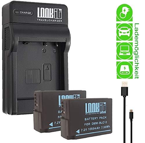 LOOKit USB Ladegerät + 2x LOOkit Premium Akku BLC12 kompatibel für Panasonic Lumix G91 G81 FZ1000 II FZ300 FZ2000 FZ1000 G6M GX8M FZ1000 G70 GX8 G70 FZ10002 FZ1000ii 2 X Akku Usb