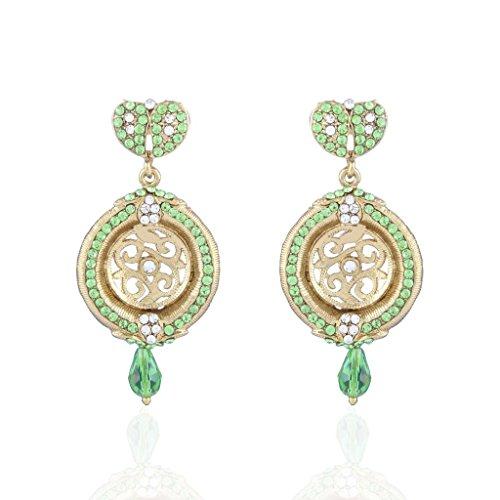 I gioielli da donna, fatto a mano, & Kundan Orecchini con pietra, base metal, colore: Parrot, cod. E2088P