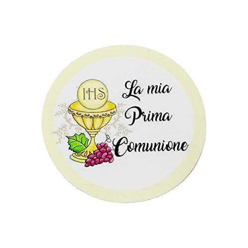 20 pezzi Adesivi tondi Prima Comunione, 40 millimetri, etichette cresima, thank you stickers, grazie, festa, tondo, rotondo, adesivi comunione