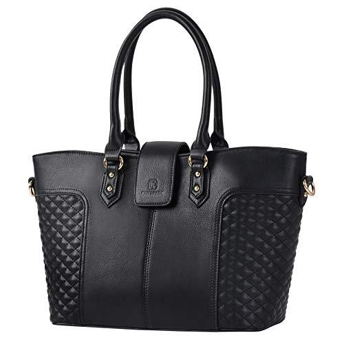 Borse Donna, Fanspack Moda Shopping Bag Donna Borse Tote Nero Borse a Spalla da Tracolla Grandi Capacità