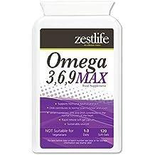 Omega 3,6,9 1000mg - 120 Cápsulas ácidos grasos EPA y DHA y vital para la piel.